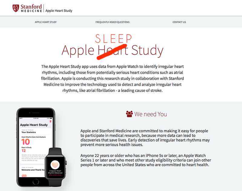Screen capture of Apple Heart Study on Stanford University page