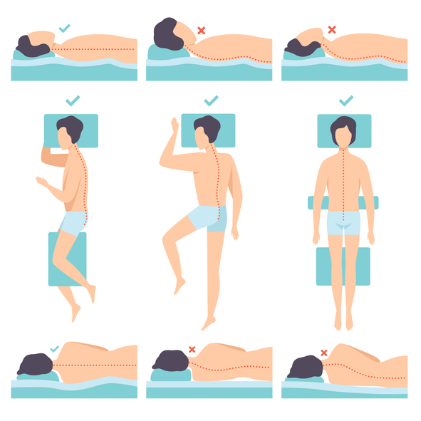 Different sleeping position and pillow adjustment