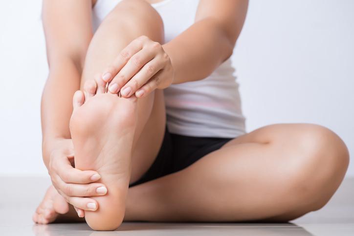 Patient having foot pain and plantar fasciitis