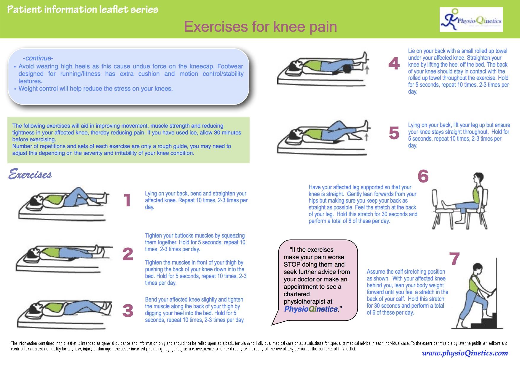 Exercise leaflet for knee pain for knee pain