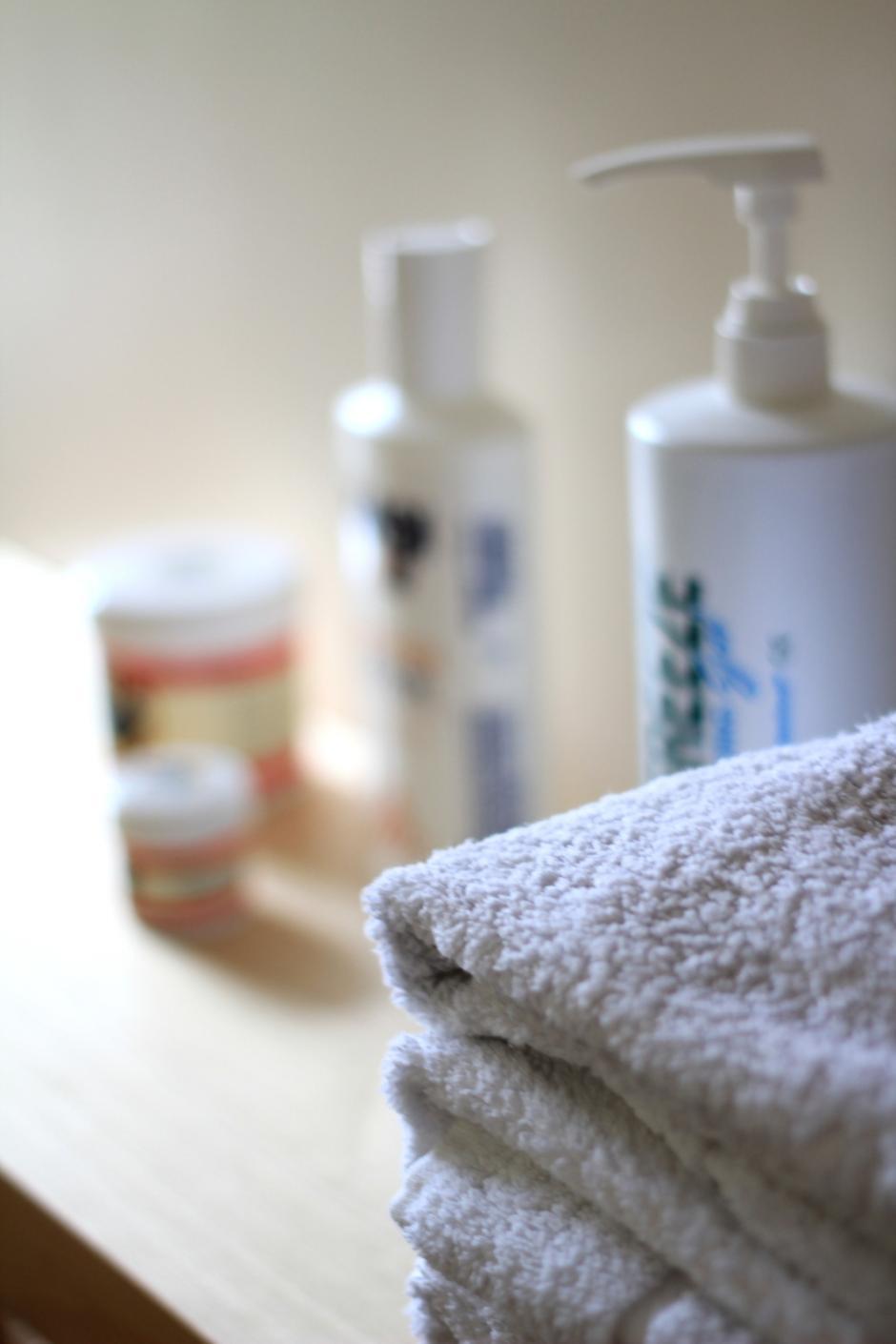 Massage cream and towel