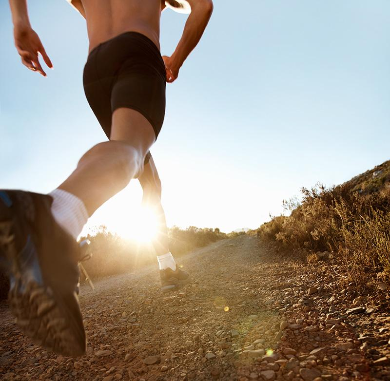 Runner on rough ground