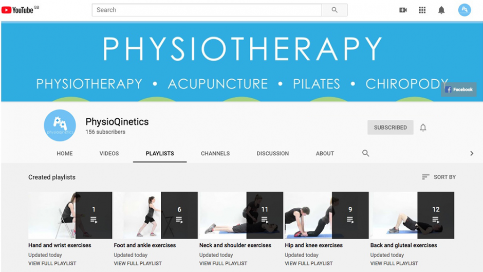 PhysioQinetics Youtube channel page